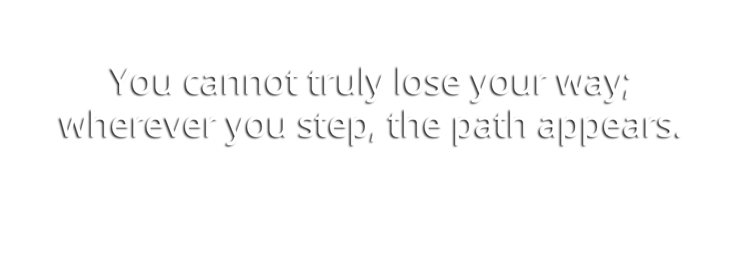 """You cannot truly lose your way; wherever you step, the path appears."" - Dan Millman"